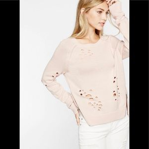 Distressed pink sweater!